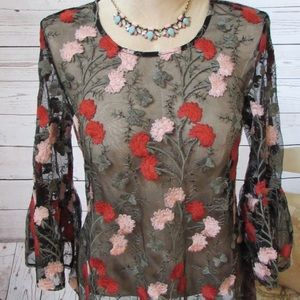 Anthropologie Solitaire Embroidery Top Bell Sleeve
